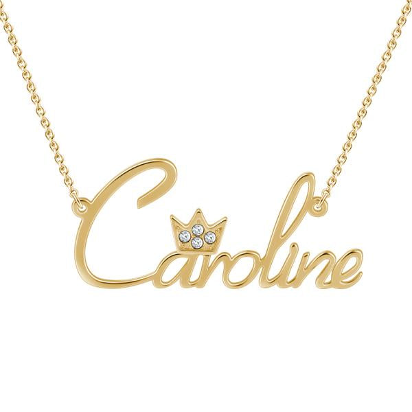 """Caroline"" Personalized Beautiful Crown Custom Name Necklace with Stones"