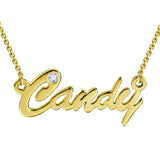 """Candy"" Personalized CZ Inlay Name Necklace"