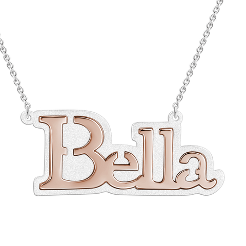 Sterling Silver Engraved  Name Necklace Adjustable Chain