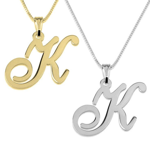 925 Sterling silver/Copper/Steel Classic Initial Pendant Personalized Name Necklace-Letters A-Z