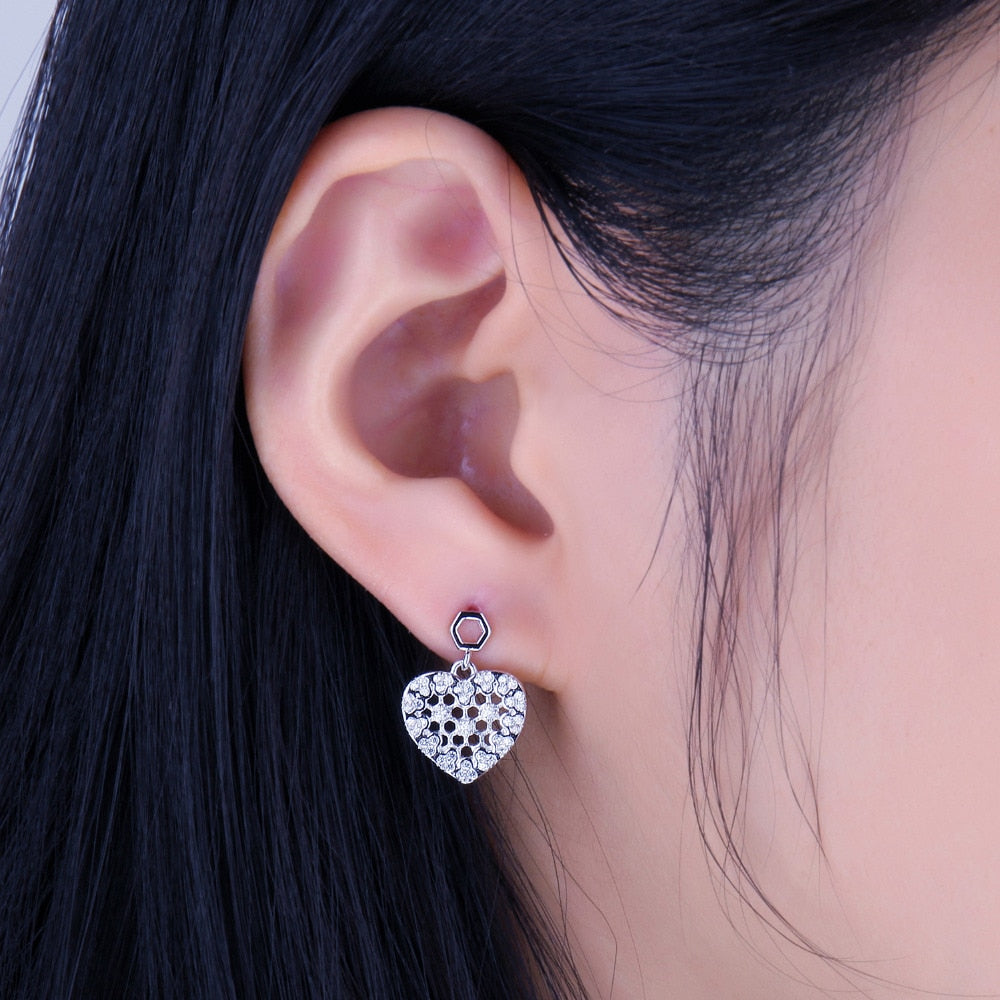 925 Sterling Silver Cubic Zirconia Hexagon Honeycomb Hollow Heart Stud Earrings Pave Setting Romantic Gift Jewelry