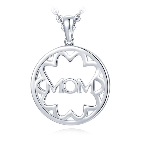 g Silver Filigree Flower Hollow Round MOM Letter Pendant