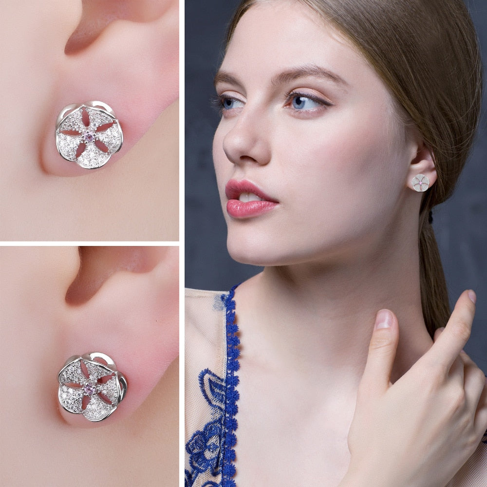 Flowers Created Pink Sapphire Cubic Zirconia Stud Earrings 925 Sterling Silver Gifts For Women Fashion Jewelry