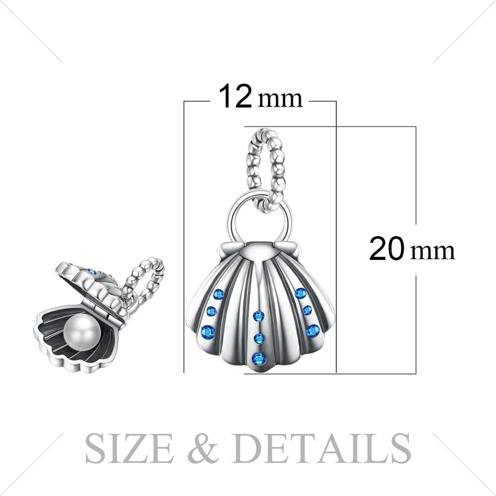 Shell Pearl 925 Sterling Silver Beads Charms Silver 925 Original For Bracelet Silver 925 original Jewelry