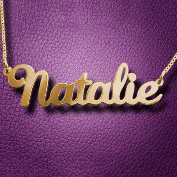 """Natalie"" Personalized Custom Classic Name Necklace"
