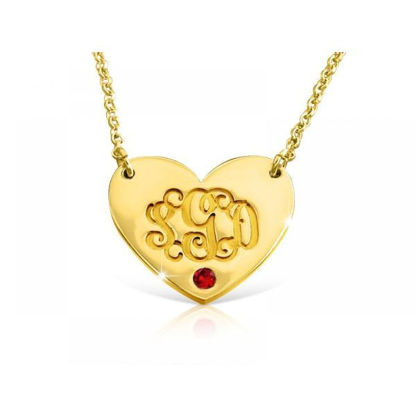 "14K Gold Personalized Heart Birthstone Monogram Necklace Adjustable 16""-20"""