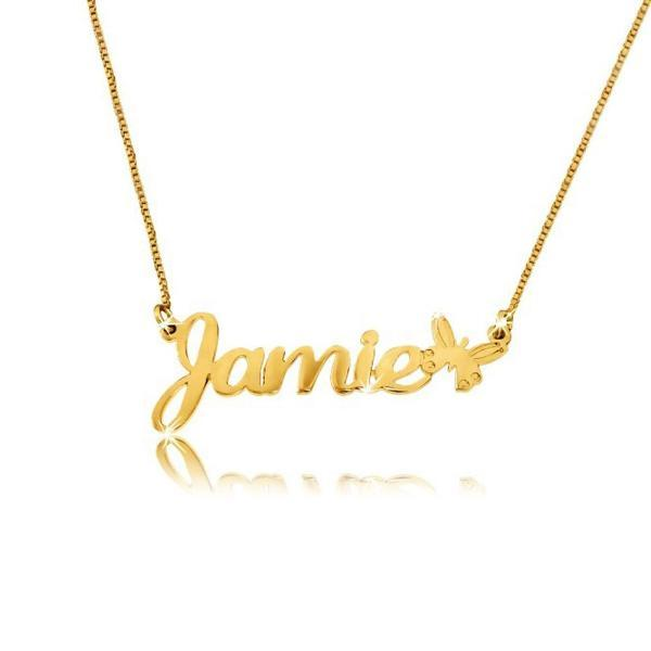 "Personalized Name Necklace With Butterfly Adjustable 16""-20"""
