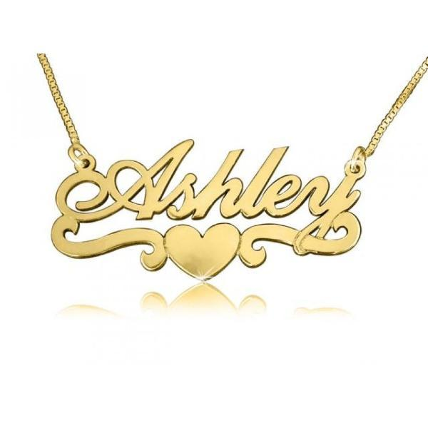 "Personalized Name Necklace With Heart Adjustable 16""-20"""