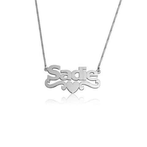 "925 Sterling Silver Personalized Middle Heart Name Necklace  Adjustable 16""-20"""