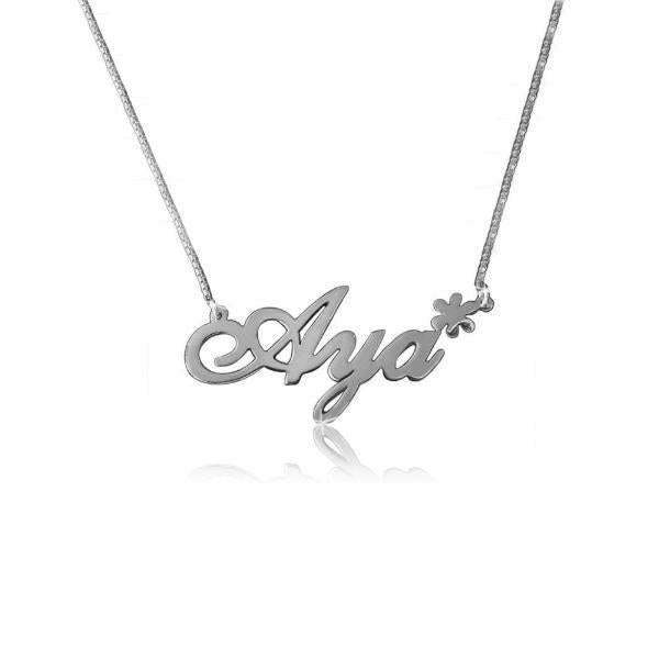 "925 Sterling Silver Personalized Name Necklace With Flowers Adjustable 16""-20"""