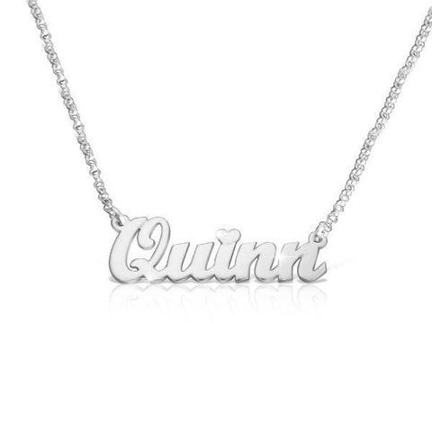 "925 Sterling Silver Personalized Classic Name Necklace With A Heart Adjustable 16""-20"""