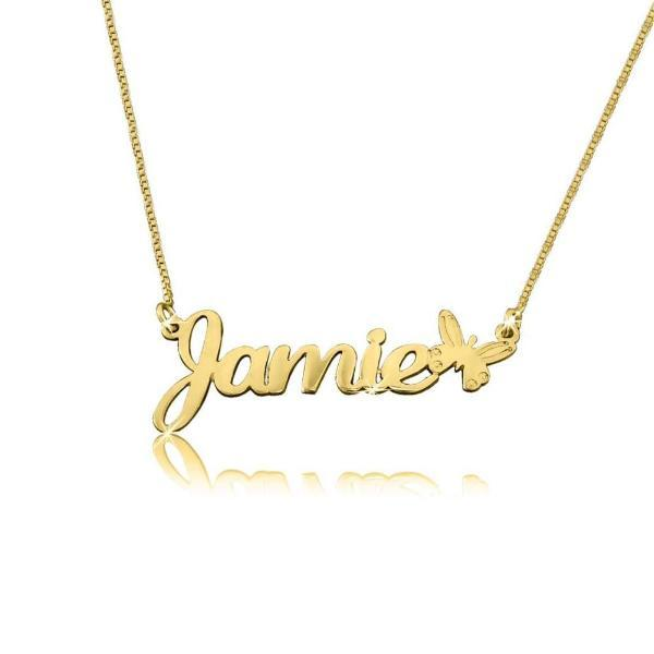 "Personalized Butterfly Charm Name Necklace Adjustable 16""+2"""