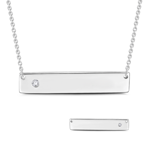"Diamond Inlay 925 Sterling Silver  Personalized Bar Necklace-Adjustable 16""-20"""