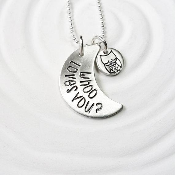 "Whoo Loves You?- 925 Sterling Silver Personalized Moon And Owl Necklace Adjustable 16""-20"""