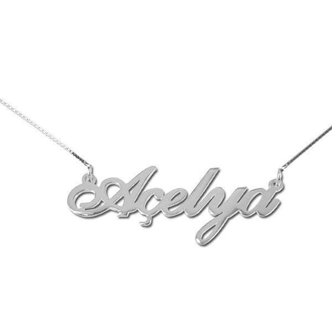 "925 Sterling Silver Personalized Turkish Name Necklace Adjustable 16""-20"""