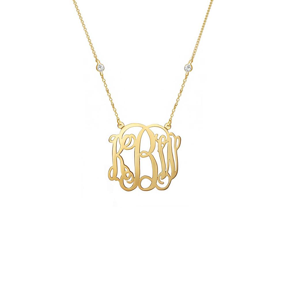 "925 Sterling Silver Personalized Script Monogram Pendant Necklace Adjustable 16""-20"""