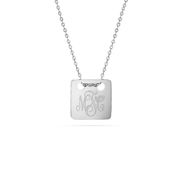 "Personalized 925 Sterling Silver Engraved Necklace-Adjustable 16""-20"""
