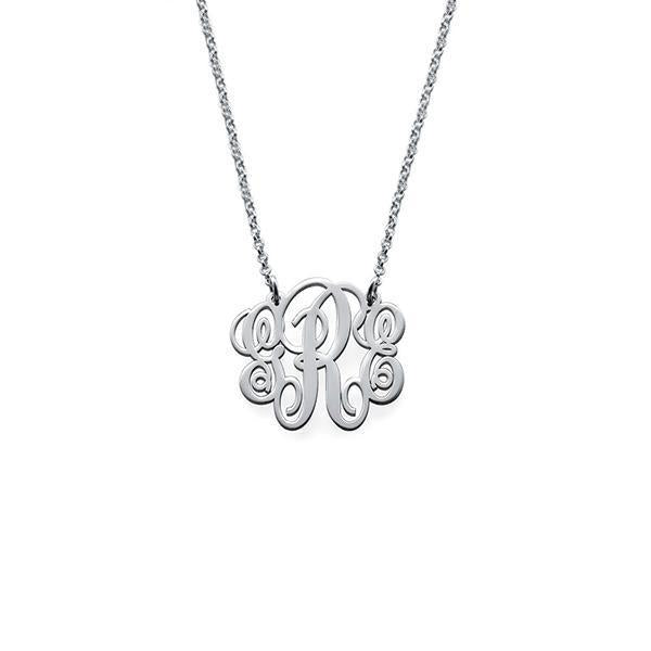"925 Sterling Silver Personalized Fancy  Monogram Necklace Adjustable 16""-20"""