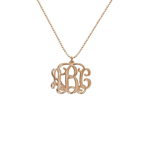 "925 Sterling Silver Personalized Monogram Necklace Adjustable 16""-20"""
