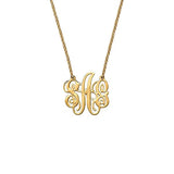 "925 Sterling Silver Personalized Fancy Monogram Necklace Adjustable 16""-20"" - 925 Sterling Silver OEM And Customization"