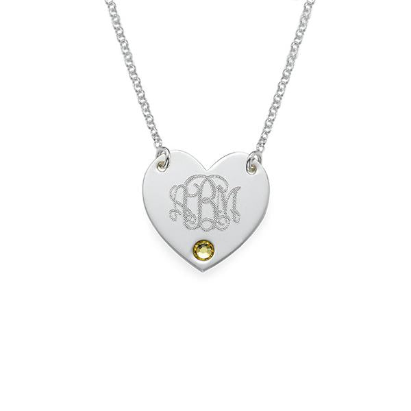 "925 Sterling Silver Personalized Engraved Monogram Heart Necklace with Birthstone Adjustable 16""-20"""