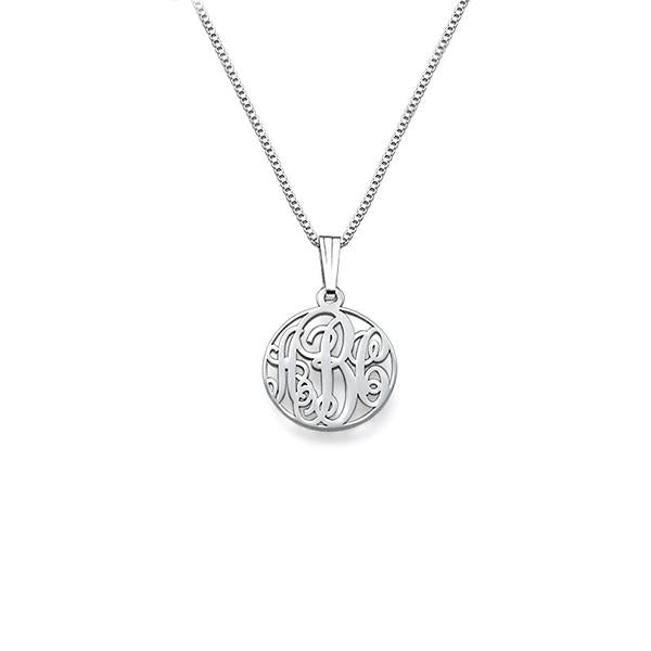 "925 Sterling Silver Personalized Circle Monogrammed Necklace Adjustable 16""-20"""