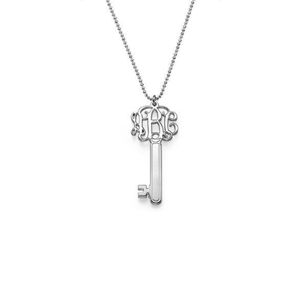"925 Sterling Silver Personalized Key Monogram Necklace Adjustable 16""-20"""