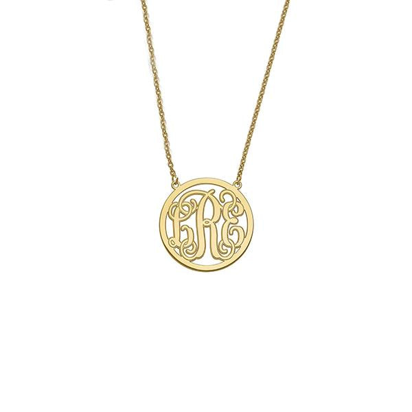 "925 Sterling Silver Personalized Circle Monogram Pendant Necklace Adjustable 16""-20"""