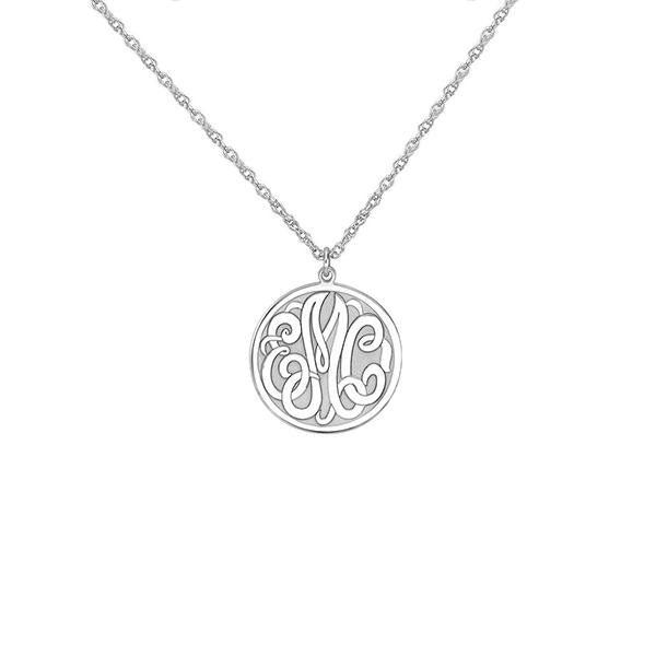 "925 Sterling Silver Personalized Monogram Round Pendant Necklace Adjustable 16""-20"""