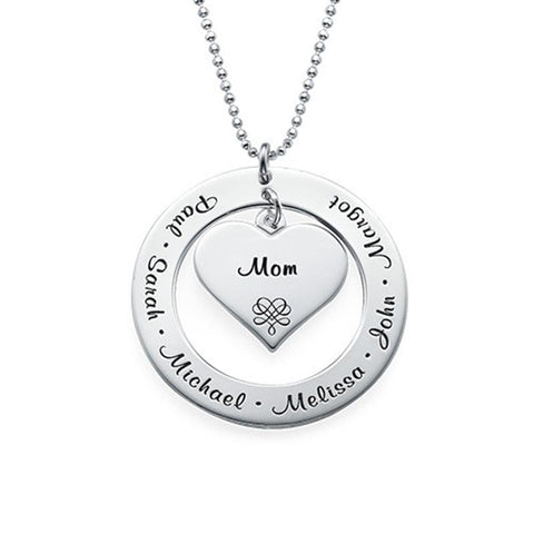 "Best Gift for Mom- 925 Sterling Silver Personalized Mother&Child Name Necklaces Adjustable 16""-20"""