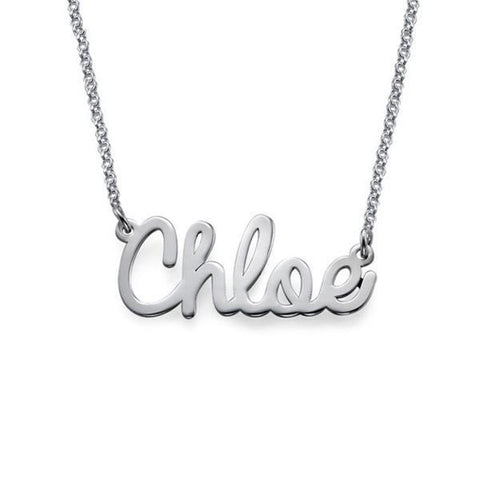 """Chloe"" 925 Sterling Silver Personalized Cursive Name Necklace Adjustable 16""-20"""