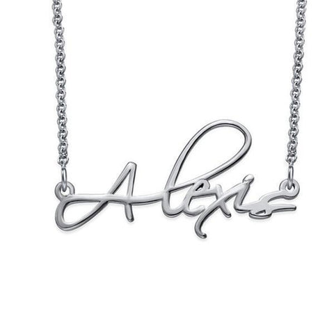 "925 Sterling Silver/Copper/Stainless steel Personalized Script Necklace Adjustable 16""-20"""
