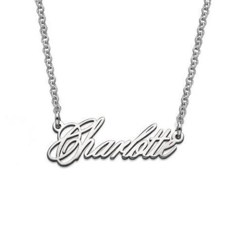 925 Sterling Silver/Copper Personalized Tiny Name Necklaces Chain 18""
