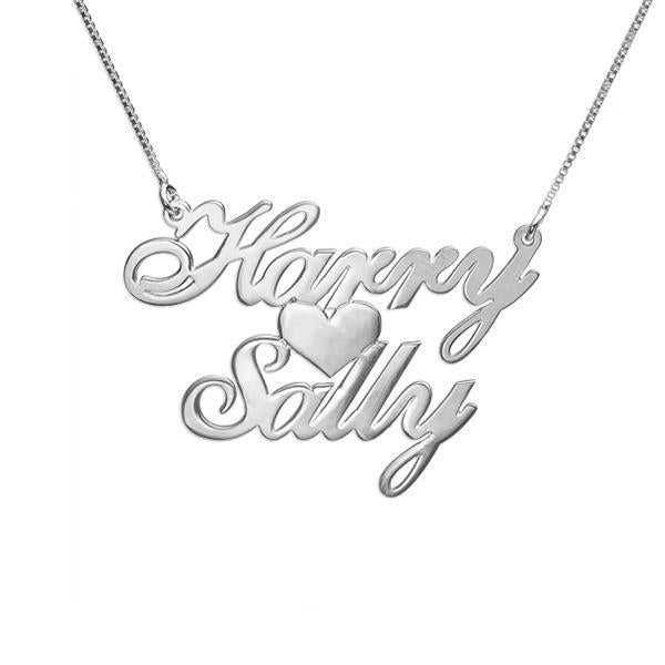 925 Sterling Silver/Copper Personalized Two Names & Heart Pendant Necklaces 18""