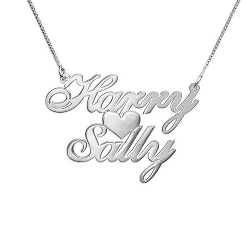 "925 Sterling Silver/Copper/Steel Personalized Two Names & Heart Pendant Necklaces Adjustable Chain 16""-20"""