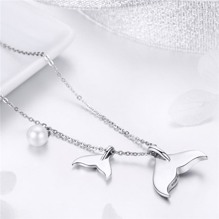 S925 Sterling Silver Pearl Mermaid's tears Necklace  For Girls