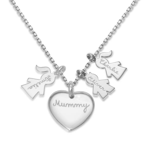 "925 Sterling Silver Personalized Love Heart Family Necklace Adjustable 16""-20"""