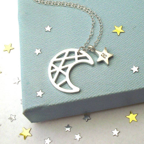 "Moon&Star 925 Sterling Silver Personalized Engraved Initial Necklace  Adjustable 16""-20"""
