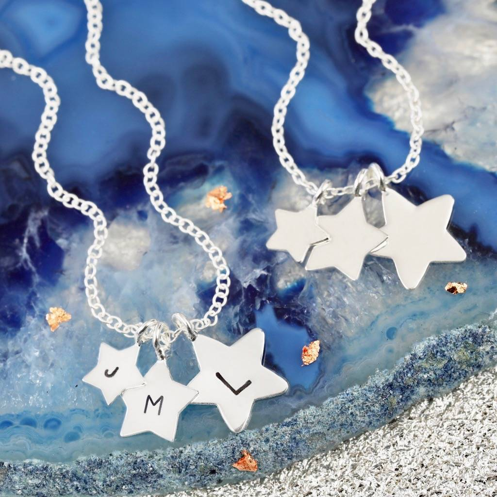 "925 Sterling Silver Personalized Starry Star Engranable Necklace-Adjustable 16""-20"""