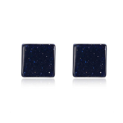 925 Sterling Silver Natural Sand Stone Stud Earrings For Women
