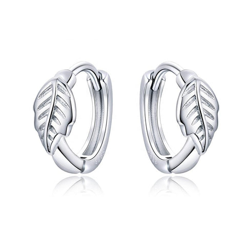 S925 Sterling silver Round Earrings Silent Leaves Small Hoop Earrings for Women