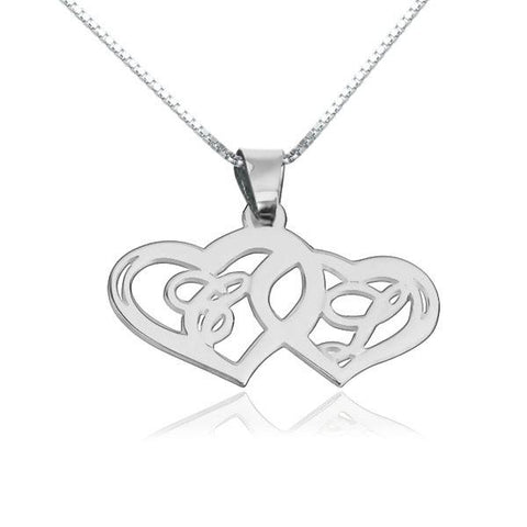 "925 Sterling Silver/Copper Personalized Heart To Heart Adjustable 18"" Box Chain Initial Necklace"