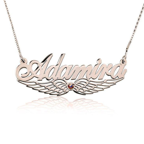"925 Sterling Silver Personalized Angel Wing Swarovski Name Necklace Adjustable Chain 16""-20"""