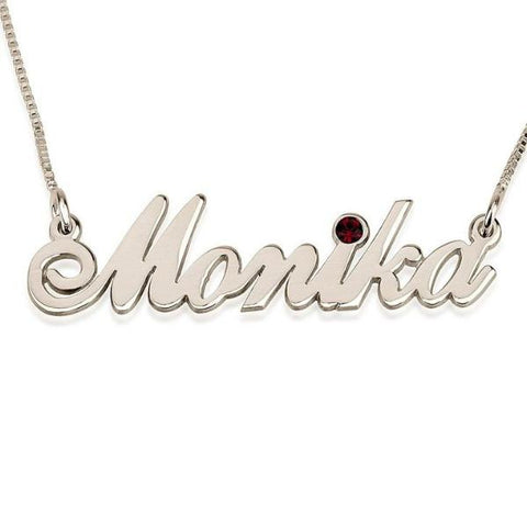 "925 Sterling Silver Personalized Swarovski Classic Name Necklace Adjustable Chain 16""-20"""