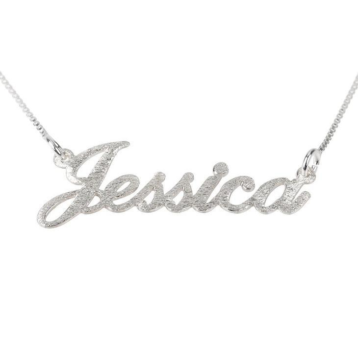 "925 Sterling Silver Personalized Brushed Name Necklace Adjustable Chain 16""-20"""