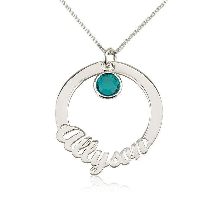 "925 Sterling Silver Personalized Circle Name Necklace with Swarovski Adjustable 16""-20"""
