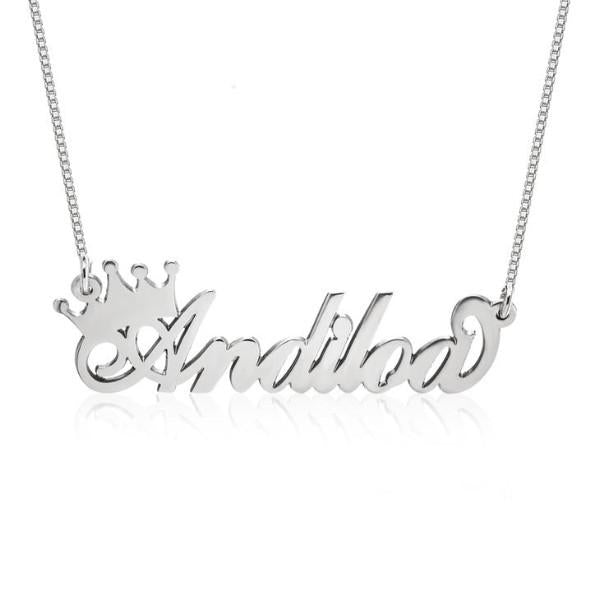 Personalized Queen Crown Name Necklace 18""