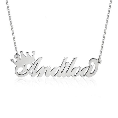 "Personalized Queen Crown Name Necklace Adjustable Chain 16""-20"""