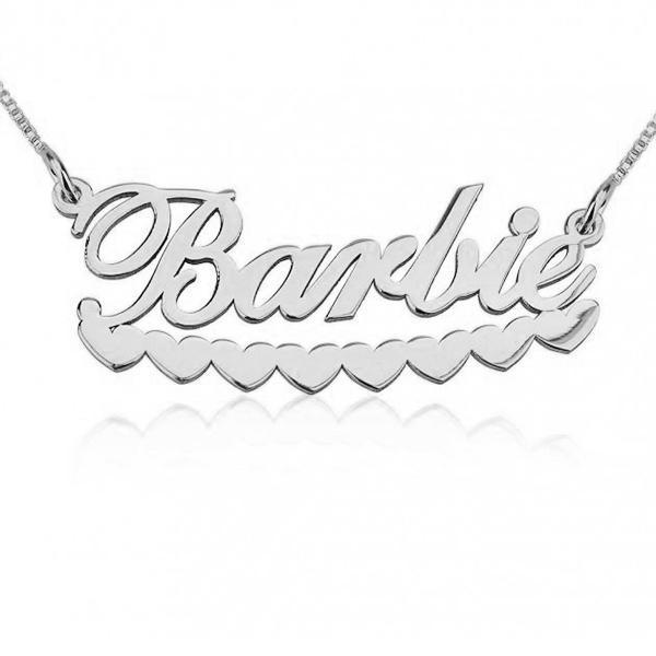 "Copper/Steel/925 Sterling Silver Personalized Barbie Hearts Name Necklace Adjustable Chain 16""-20"""