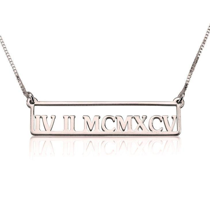 "925 Sterling Silver Personalized Roman Numeral Necklace Adjustable 16""-20"""